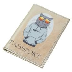 Обложка для паспорта Модные звери. Кот-рэпер