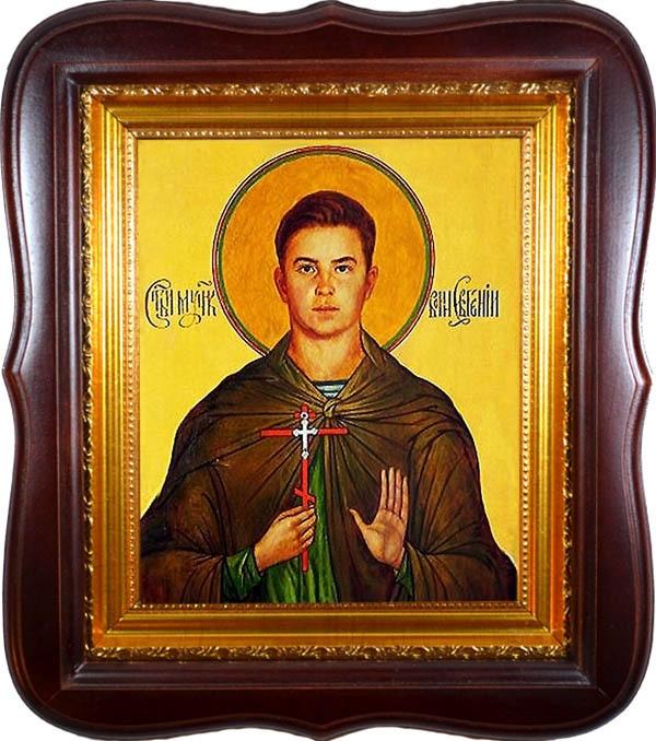 Евгений Родионов. Икона мученика воина на холсте.