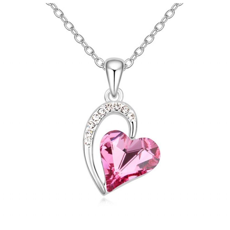 Кулон с розовым кристаллом Сваровски Олимпия
