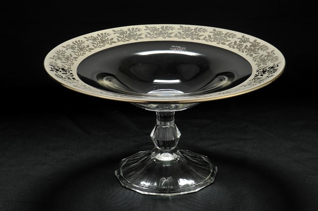 Ваза для фруктов из стекла с серебрянным декором