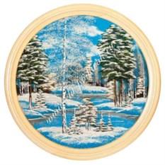 Насыпное панно на тарелке диаметром 50 см Зимний пейзаж