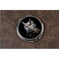 Карманное зеркальце Сова на темном фоне (черный)