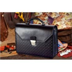 Черный мужской кожаный портфель M.Studio