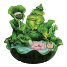 Настольный фонтан Две лягушки у пруда с каскадом, лилиями