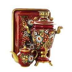 Набор; самовар электрический, поднос и чайник с росписью