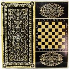 Шахматы, шашки, нарды Орнамент (цвет: черно-зототой)