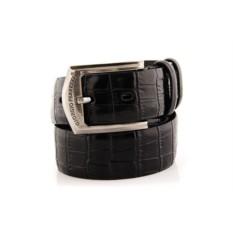 Черный мужской кожаный ремень тип 46-3