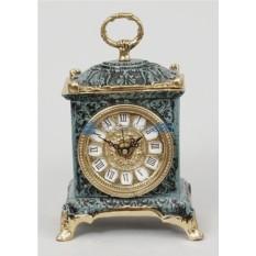 Часы из бронзы, цвет синий с золотом