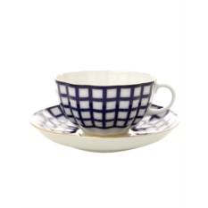 Чайная чашка с блюдцем Кобальтовая клетка