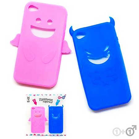 Набор чехлов для iPhone 4 Pink angel & Blue devil