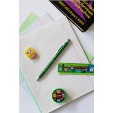 Зеленая шариковая ручка с вашим текстом Яркие краски