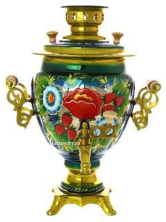 Самовар электрический 3 л. с росписью Букет цветов