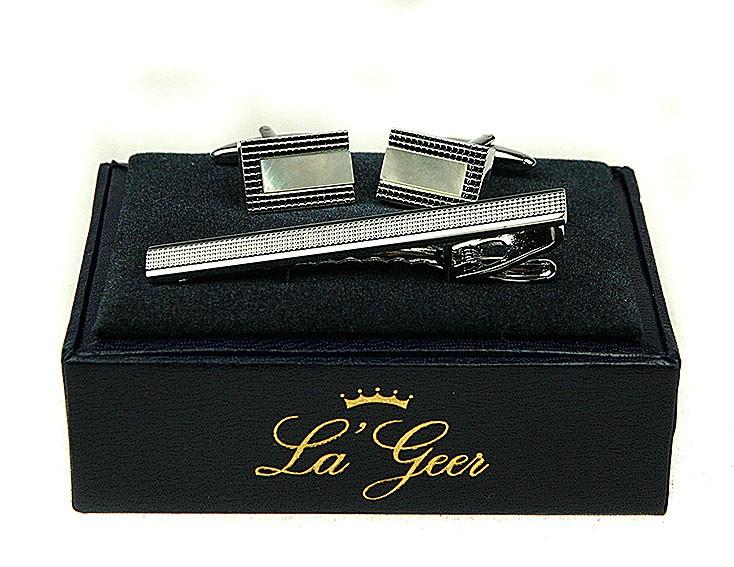 Подарочный набор LA GEER: запонки, заколка для галстука
