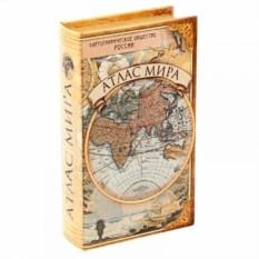 Книга-сейф из дерева Атлас мира