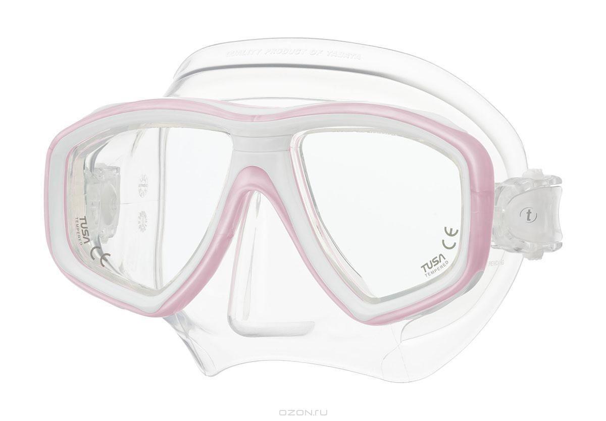 Маска для плавания Tusa Freedom Ceos, белая, розовая