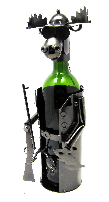 Металлическая подставка под бутылку Лось-охотник