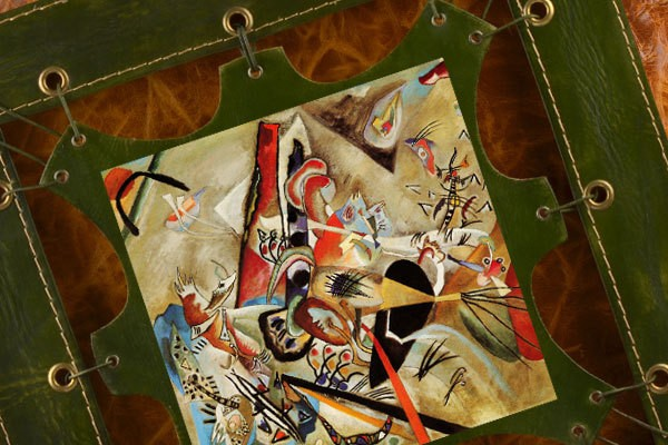 Картина из кожи В сером В.Кандинский, ElolE Interior