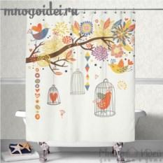Шторка для ванной комнаты Райский сад