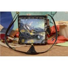Женская кожаная сумка-планшет Зимняя сказка Elole Design