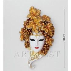 Венецианская маска Виноград (цвет: бело-золотой)