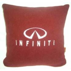 Бордовая подушка с белой вышивкой Infiniti