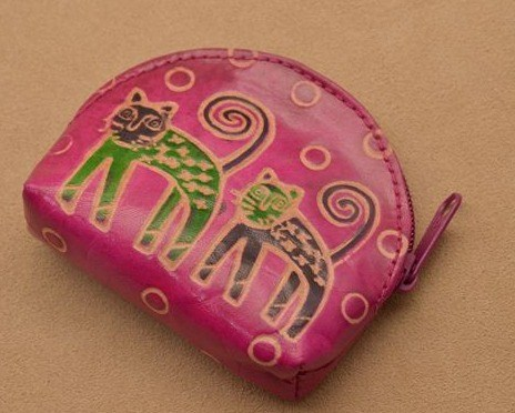 Монетница Socotra (Розовый, кошки; тип 1; кожа)