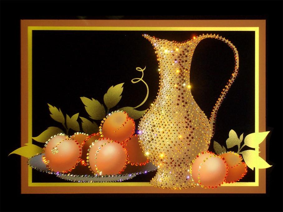 Картина с кристаллами Swarovski Натюрморт с персиками