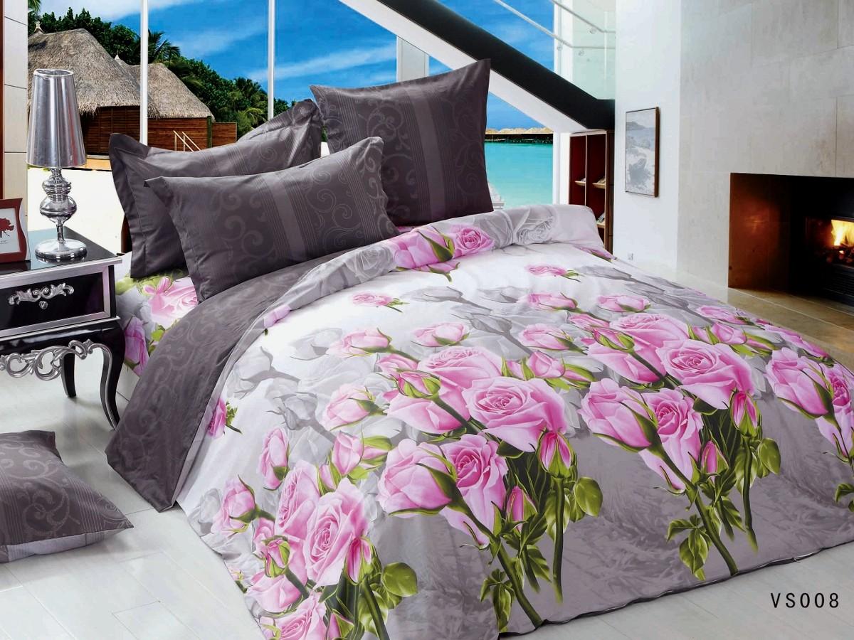 Евро комплект постельного белья, букет розовых цветов