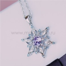 Кулон с фиолетовыми кристаллами Сваровски «Снежинка»