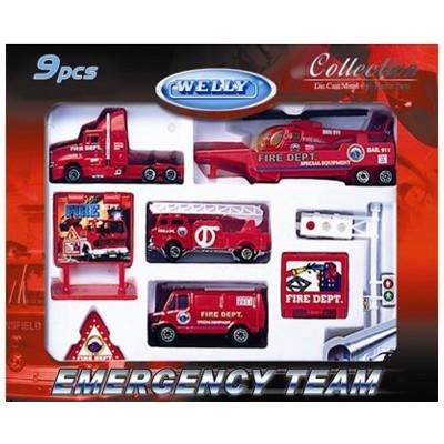 Игровой набор Машинка Welly. Пожарная команда.