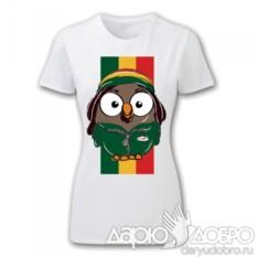 Женская футболка с совой Боб с флагом от Goofi