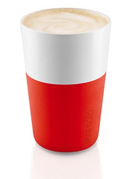 Красные фарфоровые чашки Latte