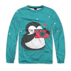 Мужской свитшот 3D с запечаткой Пингвин с фотоаппаратом