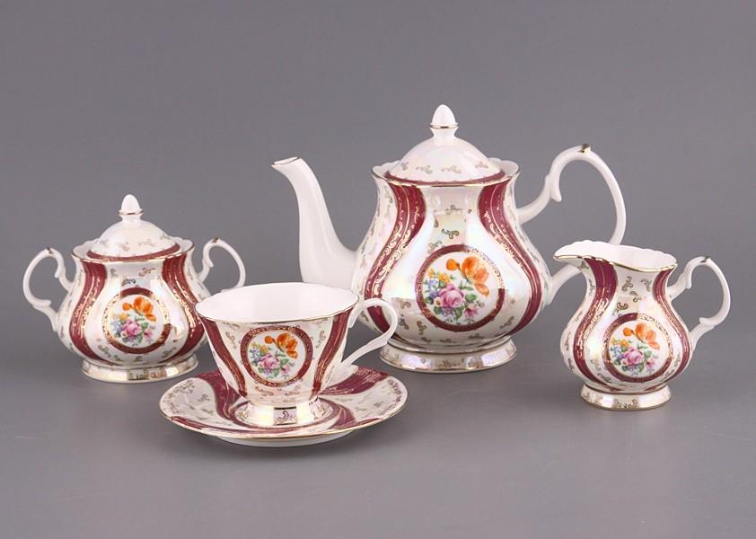 Чайный сервиз на 6 персон, цветы