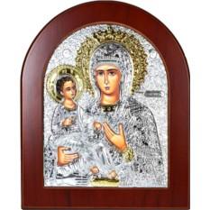 Икона Божьей Матери Троеручница в серебряном окладе.