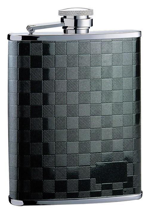Металлическая фляга S.Quire, черная мелкая клетка, 0,24 л