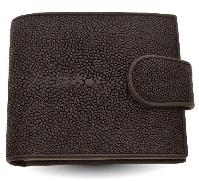 Черный мужской кошелек с монетницей из кожи ската