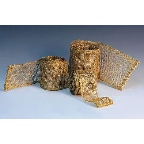 Лента золотая плетеная из ротанга