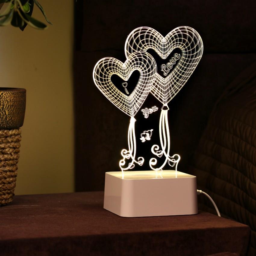 3D-лампа с сенсорной панелью Два сердца