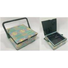 Голубая шкатулка для рукоделия Сундук, размер 20х20х11 см