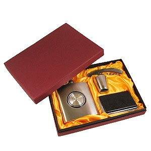 Подарочный набор: фляжка 210 мл, стопка, штопор, портсигар