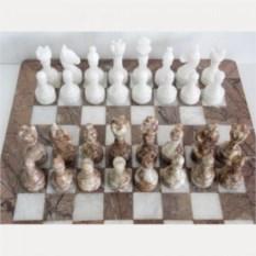 Шахматы из ценного природного камня Яшма и мрамор