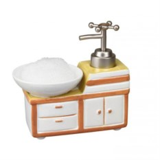 Дозатор для моющего средства с губкой (цвет — оранжевый)