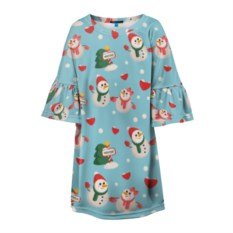 Детское платье 3D Влюбленный снеговики