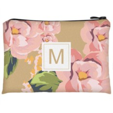 Косметичка с вашей буквой «Розовые цветы»