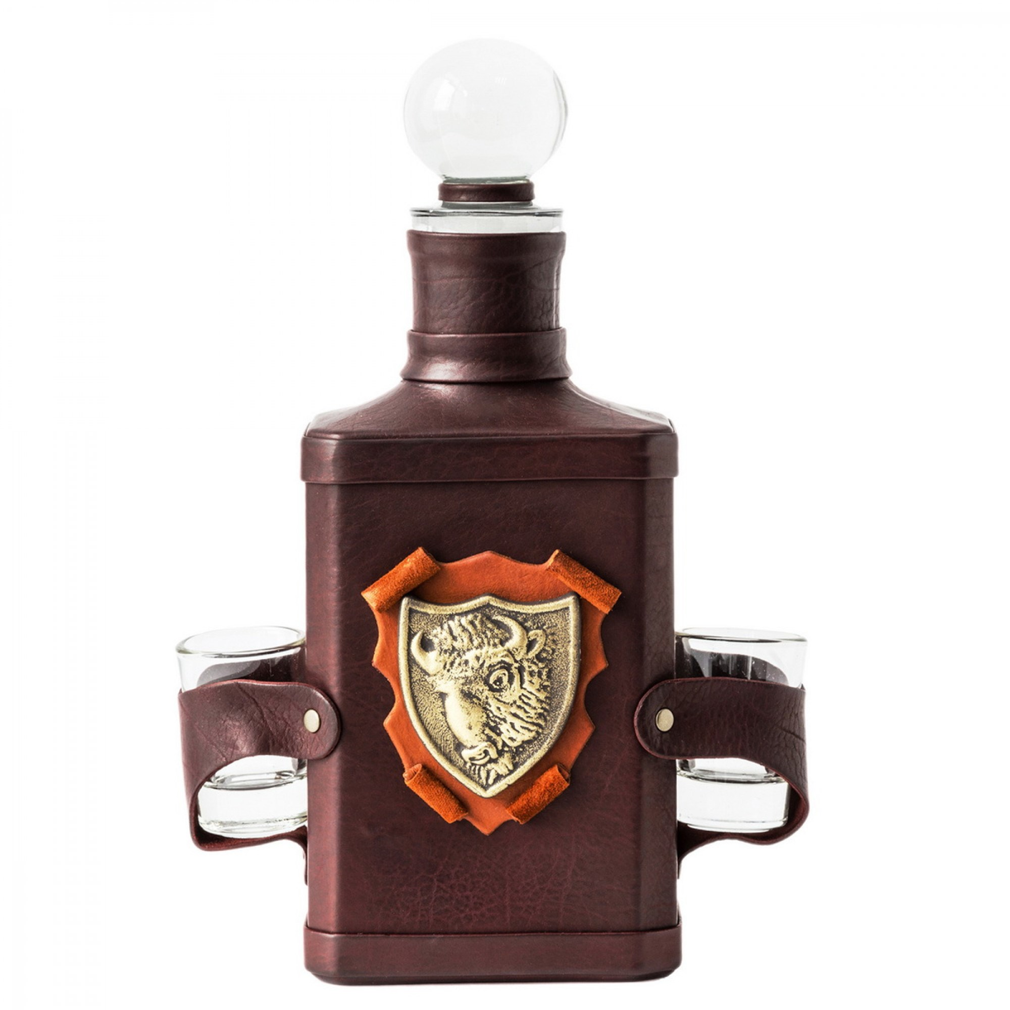 Штоф для водки или ликёра в декоративном кожаном футляре