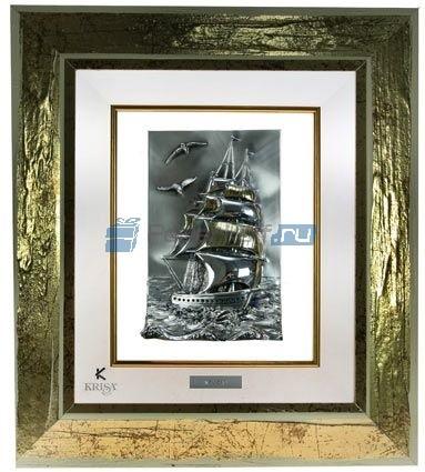 Картина с посеребрением на белом фоне Парусник