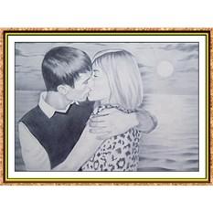 Портрет по фото на двух человек А4, черно-белый