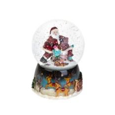 Музыкальный шар со снегом Санта-Клаус с эльфами