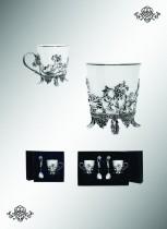 Чашка чайная Цветочная, с чернением, с серебряным подстаканником